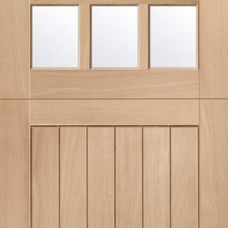 Stable 9 Light Double Glazed External Oak Door Door (M&T) with Clear Glass