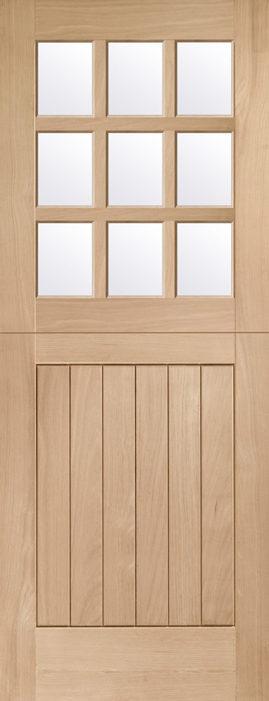 Stable 9 Light Double Glazed External Oak Door Door (M&T) with Clear Glass