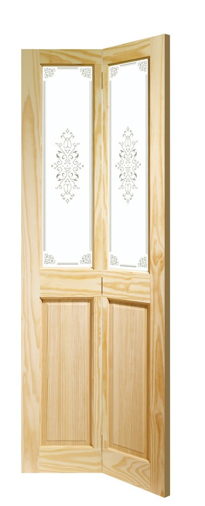 Victorian Bi-Fold Internal Clear Pine Door with Campion Glass