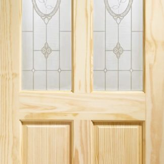 Rio Internal Clear Pine Door with Crystal Rose Glass