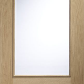 Andria Internal Oak Door with Clear Bevelled Glass and Raised Mouldings