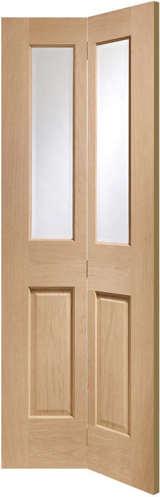 Malton Bi-Fold Internal Oak Door with Clear Bevelled Glass