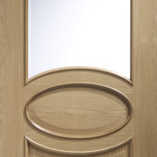 Calabria Internal Oak Door with Clear Bevelled Glass and Raised Mouldings