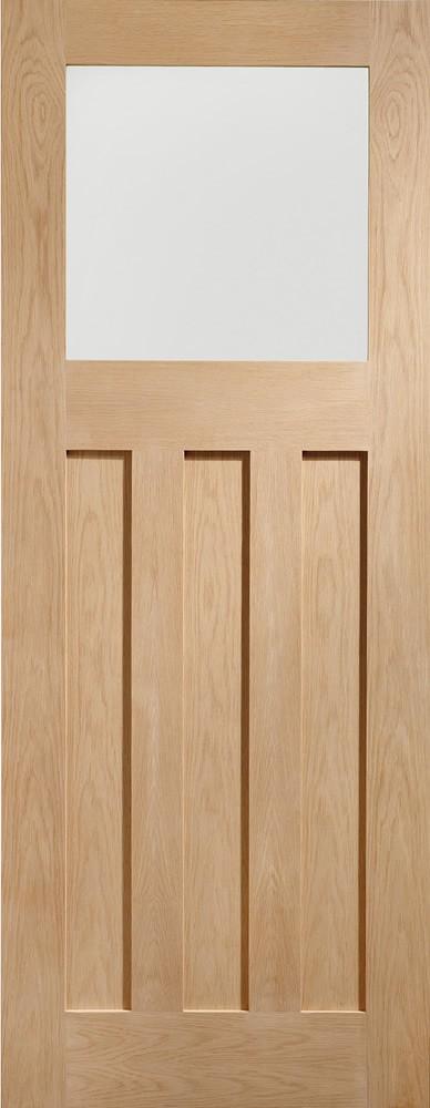 DX Internal Oak Door with Obscure Glass