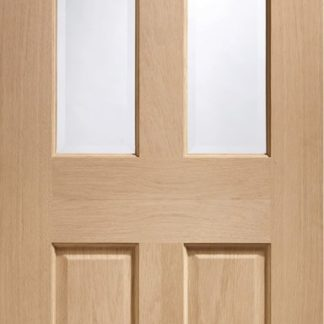 Malton Internal Oak Door with Clear Bevelled Glass