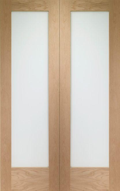 Pattern 10 Internal Oak Rebated Door Pair with Clear Glass
