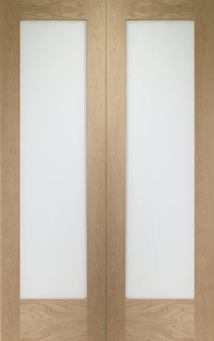 Pattern 10 Internal Oak Rebated Door Pair with Obscure Glass