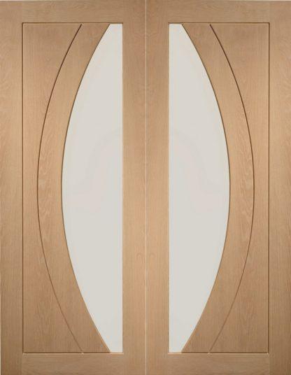 Salerno Internal Oak Rebated Door Pair with Clear Glass