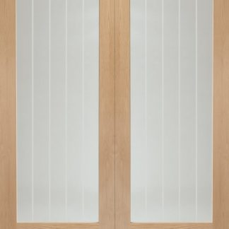 Suffolk Internal Oak Rebated Door Pair with Clear Etched Glass