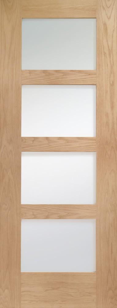 Shaker 4 Light Internal Oak Door with Obscure Glass