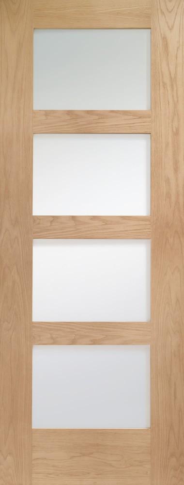 Shaker 4 Light  Internal Oak Door with Clear Glass