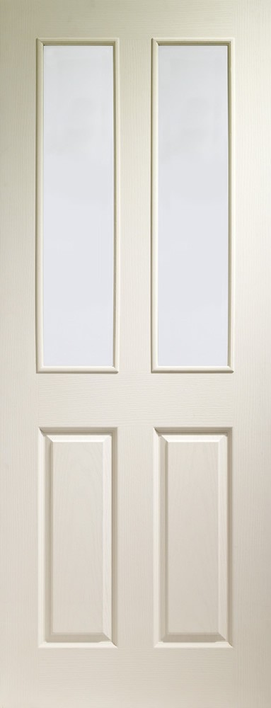 Victorian Internal White Moulded Door with Clear Glass