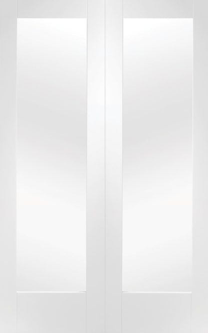 Pattern 10 White Primed Internal Rebated Door Pair with Clear Glass