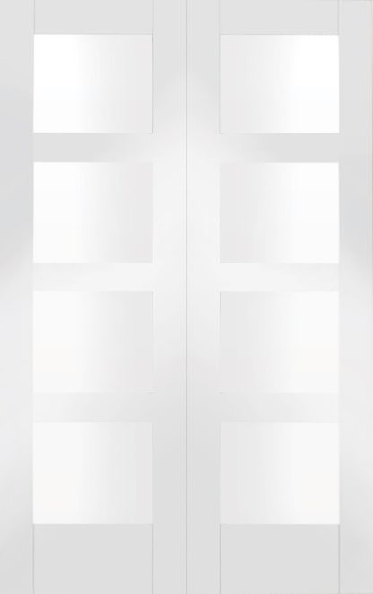 Shaker Internal White Primed Rebated Door Pair with Clear Glass