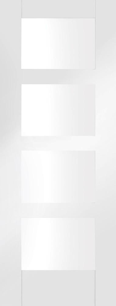Shaker 4 Light Internal White Primed Door with Clear Glass