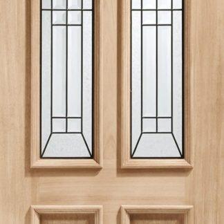 Malton Diamond Triple Glazed External Oak Door (M&T) with Black Caming