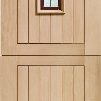 Chancery Stable Triple Glazed External Oak Door (M&T) with Brass Caming