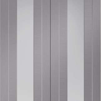 Forli Pre-Finished Light Grey Door Pair with Clear Glass