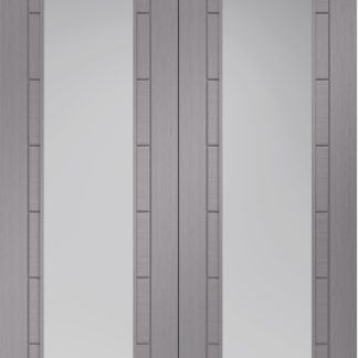 Palermo Pre-Finished Light Grey Door Pair with Clear Glass