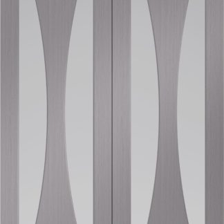 Verona Pre-Finished Light Grey Door Pair with Clear Glass