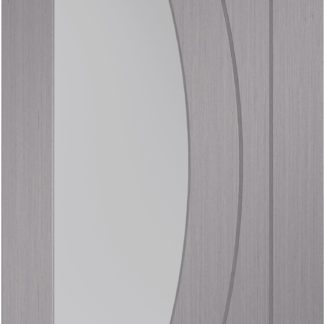 Salerno Pre-Finished Light Grey Door Pair with Clear Glass